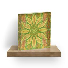 """Sun Flower, bohemian floral pattern, yellow, green & orange"" Acrylic Blocks by clipsocallipso 