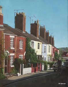 Southampton Rockstone Lane-oil painting of a small street in Southampton, Hampshire, lined with characterfull small houses of victorian vintage. They are built up a hill and a cyclist can be seen riding up it on a sunny autumn day. Artwork by artist Martin Davey. Available as a framed print or a rolled up print for you to frame. #house #terrace #architecture #hampshire #sunny #cyclist #pretty