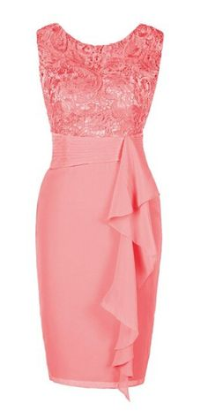 Ellames Women's Short Lace Bridesmaid Dress Mother of the Bride Dresses, coral bridesmaid dress, lace bridesmaid dress, short party dresses