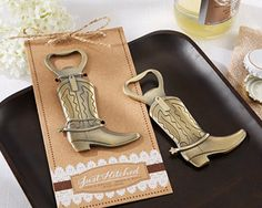 Just Hitched Cowboy Boot Bottle Opener Favor - a fun and whimsical favor idea for a rustic, farm, barn, western or cowboy-themed wedding or bridal shower. - Wine Country Occasions, www.winecountryoccasions.com