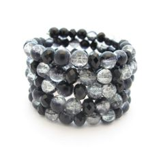 Black Beaded Cuff Bracelet, Wrap Bracelet, Memory Wire by Gabby's Quilts