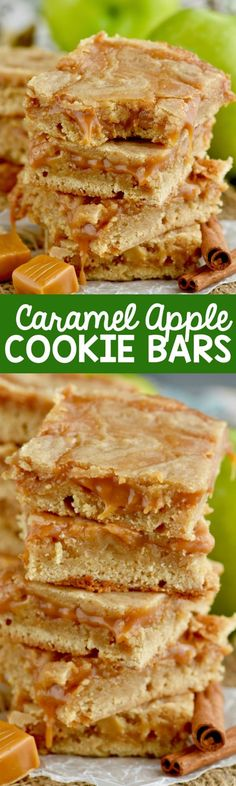 These Caramel Apple Bars are like a sugar cookie and a caramel apple combination. Easy, delicious, and the perfect recipe for fall!