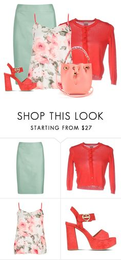 """floral top w/ coral accents"" by rvazquez ❤ liked on Polyvore featuring Armani Collezioni, Pinko Tag, Dorothy Perkins, Love Moschino, Sophia Webster, Spring, Moschino, armani and pinko"