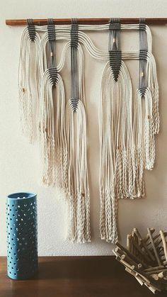 Large Modern Macrame Wall Hanging on Copper Pipe Gray and