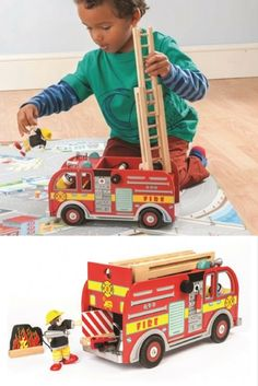 Brave firefighters will be ready for action keeping everyone safe with this traditional bright red hand painted wooden toy fire truck from Le Toy Van. This fire truck is beautifully detailed and has a hard wearing strong front 'bumper bar' and a lock into position telescopic ladder on a rotating platform for rescuing people high up! Two sirens are mounted onto the cab for pretend play sounds. Fireman Party, Fire Engine, Pretend Play, Sirens, Fire Trucks, Vintage Children, Wooden Toys, Planes, Boats
