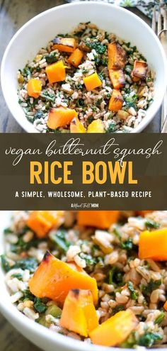 Use up those leftovers for this easy Vegan Butternut Squash Rice Bowl! Filled with southwestern seasoning, roasted butternut squash, and kale, it makes a healthy and hearty plant-based fall dinner. Change up this recipe based on what you have in your pantry or fridge! Best Healthy Dinner Recipes, Healthy Thanksgiving Recipes, Easy Healthy Recipes, Southwestern Seasoning Recipe, Kitchen Recipes, Soup Recipes, Fall Dinner, Roasted Butternut Squash, Rice Bowls