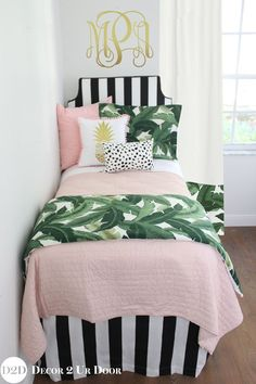 Palm tree bedding sets for dorm rooms. Black and white palm tree bedroom. Designer, preppy dorm room bedding, Trendy palm tree bedroom. Tropical palm tree dorm room. Palm tree themed dorm room. Designer headboard, custom pillows, exclusive bed scarf, window panels, wall art, bed skirts, twin/queen/king duvet and custom monogramming!! Perfect for college, apartment, or teen bedding!! #ExclusiveBedLinen