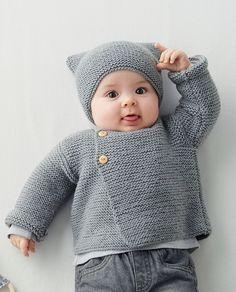 Baby Sweater Knitting Pattern, Baby Knitting Patterns, Baby Patterns, Cute Crochet, Crochet Baby, Knit Crochet, Simply Knitting, Easy Knitting, Layette Pattern