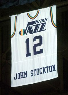 Retired Utah Jazz point guard John Stockton s jersey is unveiled on Monday  Nov. 22 ea8343caf