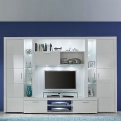 Roma entertainment unit in white with high gloss fronts and led, is a modern solution for the display of flat screen TV's and media systems - 37408 living room furniture sets & packages clearance, grey & white. Living Room Wall Units, Living Room Tv Unit Designs, Home Design Living Room, New Living Room, Modern Tv Room, Modern Tv Units, Contemporary Living Room Furniture, Tv Unit Furniture Design, Led Furniture