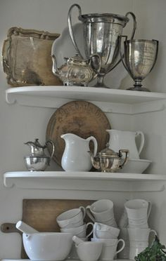 White dishes, ironstone and vintage silver. Vintage Metal, Vintage Silver, Antique Silver, Mantel Styling, Boho Chic, Shabby Chic, White Dishes, White Pitchers, Vintage Decor