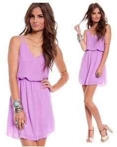 NWT LAVENDER CHIFFON FLOWY TWO STRAP SHORT SLEEVE MINI TANK DRESS ELASTIC WAIST