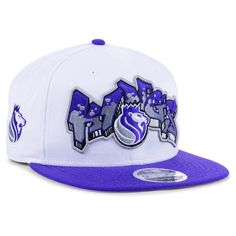 newest 087ec 2c0dc Sacramento Kings New Era Retro Word 9FIFTY Snapback Hat - White Purple,  Your Price