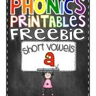 5 FREE short a phonics printables. These will be great for homework, morning work, independent work, group time and more!  If you enjoy this produc...