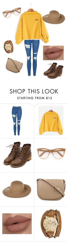 """""""fall outfit """" by khaniyabradley ❤ liked on Polyvore featuring Topshop, Wildfox, Armani Jeans, CÉLINE and Kahuna"""