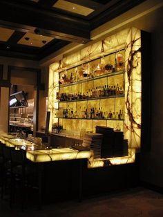 Onyx back lit bottle display Lounge Design, Bar Lounge, Bar Counter Design, Bar Interior Design, Home Bar Furniture, Home Bar Designs, Bar Displays, Cafe Bar, Bar Lighting