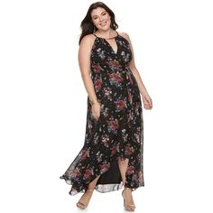 58a6e2d2d9b Plus Size Chaya Floral Wrap Maxi Kohls