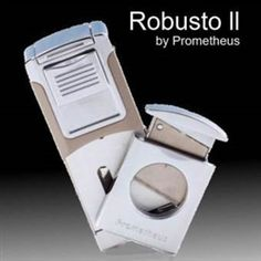 Robusto II Lighter: Twin-jet Turbo Flame, Built-in Guillotine Cutter