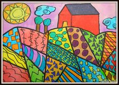 PAINTED PAPER: Folk Art LandscapesHeather Galler- Students created their designs with pencil. Students need at least 15 sections with various patterns. Trees, suns and barns were all added.    Students used a sharpie and outlined EVERYTHING. Once the outlining was complete students used Construction Paper Crayons to color in just the shapes not the backgrounds.  Students painted the background with liquid watercolor paints. I had the premix in muffin containers so that the colors would be…