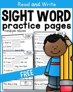 FREEBIE: Use these sight word pages to practice reading AND writing sight words! Each page requires students to write the sight word 5 times, read each sentence 3 times and write the sentence at the bottom. Teaching Sight Words, Sight Word Practice, Sight Word Activities, Literacy Centers, English Activities, Writing Practice, Site Words, Teaching Reading, Reading Comprehension