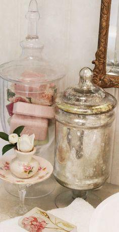 sweet bathroom vignette from Mulberrymuses.blogspot.com