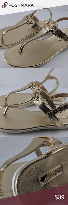 5e620171d7983 Gold Aldo Ashley Ankle Fastener Thong Sandals Style  Ankle Fastener Thong  Sandals Color  Gold Size  Women s Condition  New Aldo Shoes Sandals
