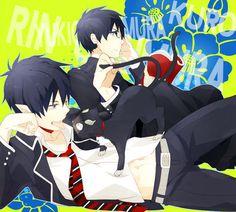 Blue Exorcist - Rin, Kuro, and Yukio Kuro Ao No Exorcist, An No Exorcist, Blue Exorcist Anime, Yukio Okumura, Anime Family, Blue Flames, Hot Anime Guys, Fujoshi, Animation