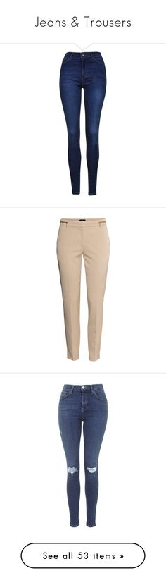 """""""Jeans & Trousers"""" by otrafter ❤ liked on Polyvore featuring jeans, bottoms, pants, indigo, tall jeans, blue jeans, skinny leg jeans, stretch jeans, button fly jeans and beige"""