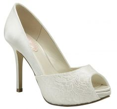 Chaussures mariée Fancy en dentelle et satin de soie - Instant Précieux