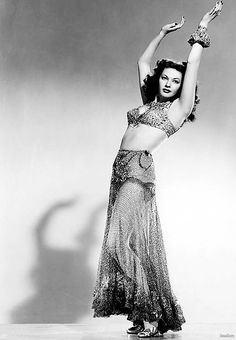 Yvonne De Carlo in a publicity still for Salome, Where She Danced, 1945. Jewelry by Joseff of Hollywood.