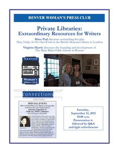 9-12-15 Mara Purl & Virginia Harris Presentation on Private Libraries as Author Resources