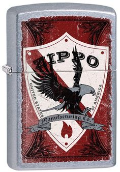 Zippo Lighter  Zippo Shield & Eagle  No 28867 on brushed chrome finish  - New