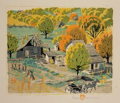 'Harden Hollow' by Gustave Baumann (1881-1971) An American printmaker and painter, and one of the leading figures of the color woodcut revival in America.