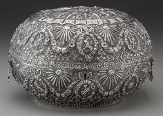 A Persian Silver Lock Box, early 20th century