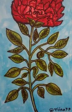 Original drawing by Tiina From Finland for Flower Mail Art Call by  Bianca Tangande http://www.tiinafromfinland.com/mail-art/hope-blossoming/ #mailart #drawings #flowers