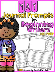 20 Journal Prompts for beginning writers for May are perfect for building vocabulary, encouraging creativity and improving writing skills.  Each one includes I Can statements, a box to illustrate and a picture dictionary at the bottom.
