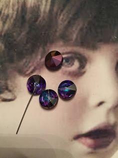 Vintage Swarovski 10mm Heliotrope Rivoli Crystal 8209HELx4 by dimestoreemporium on Etsy