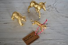 "Paint a plastic animal then tie on a gift tag saying 'Wild about you."" Cute instead of a traditional card."