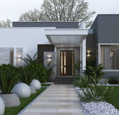 Village House Design, Modern House Design, House Entrance, Modern House Facades, Modern House Exterior, House Exterior