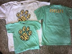 """e2091a7ff66307 Vintage Dragonfly Boutique on Instagram  """"New leopard paw print bobcat  spirit shirts!! Youth sizes only come in the green in sizes (XS"""