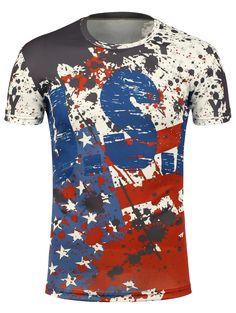 8fb6832b42e USA Flag Graphic Splatter Paint T-Shirt