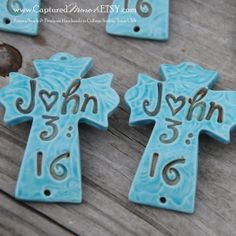 Pottery Cross Cuff Bead in Turquoise with John by CapturedMoments, $5.25