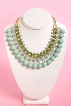Pretty Beaded Necklace - Mint Necklace - Statement Necklace - Bib Necklace - $18.00