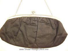 Black Vintage Evening Bag Clutch Purse Gun Metal Hardware