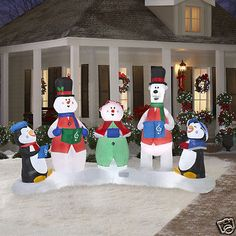 Gemmy Christmas 10 W/ Airblown Inflatable Winter Carolers Yard Holiday Decor