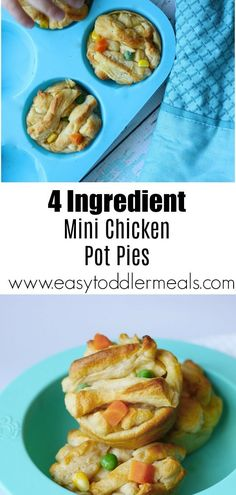All you need to make these mini chicken pot pies is 30 minutes and 4 ingredients. It's a great to feed your toddler and the whole family with a quick and easy dinner packed with veggies dinner for toddlers 4 Ingredient Chicken Pot Pie - Charisse Yu Easy Dinners For Kids, Cooking With Kids Easy, Easy Toddler Meals, Quick Easy Dinner, Kids Meals, Toddler Food, Easy Meals For Toddlers, Toddler Menu, Toddler Lunches