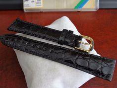 NOS Hadley Roma 19mm Genuine Crocodile Black Water Resistant Leather Band! #HadleyRoma