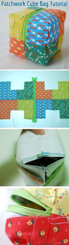Little boxy pouch tutorial. Patchwork Cube Bag ~ How to sew free tutorial for beginners. Ideas for sewing projects.Little boxy pouch tutorial. Patchwork Cube Bag - make w/o zipper for a cute set of fabric baby block toysDiscover recipes, home ideas, style Sewing Hacks, Sewing Tutorials, Sewing Crafts, Sewing Projects, Sewing Patterns, Purse Patterns, Tutorial Sewing, Patchwork Tutorial, Patchwork Patterns