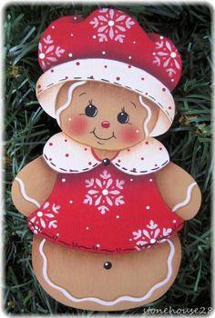 HP GINGERBREAD Winter Ginger FRIDGE MAGNET or ORNAMENT u choose #Handpainted