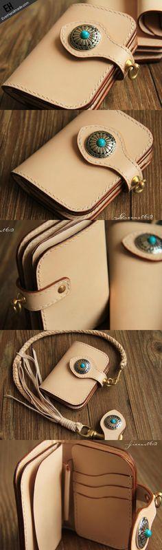 Handmade leather beige biker wallet chain bifold short wallet purse cl | EverHandmade